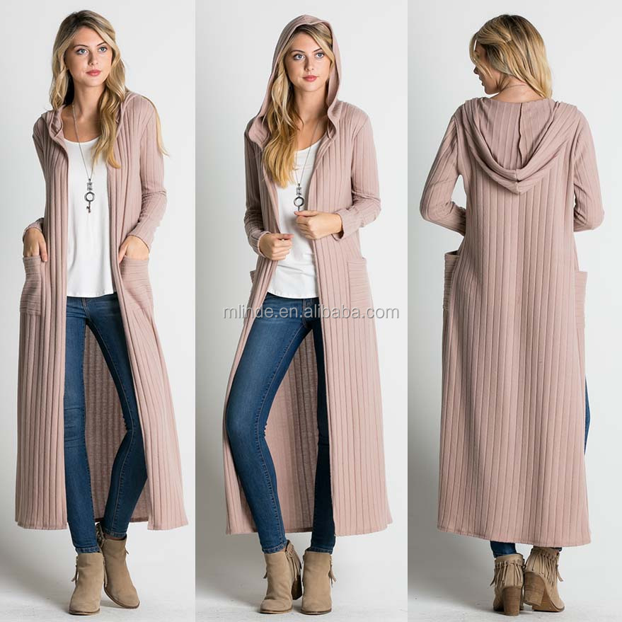 Korean Style Wholesale Women Cardigan Ribbed Pocket Open Front Hood Long Knitted Cardigan Sweaters Wholesale