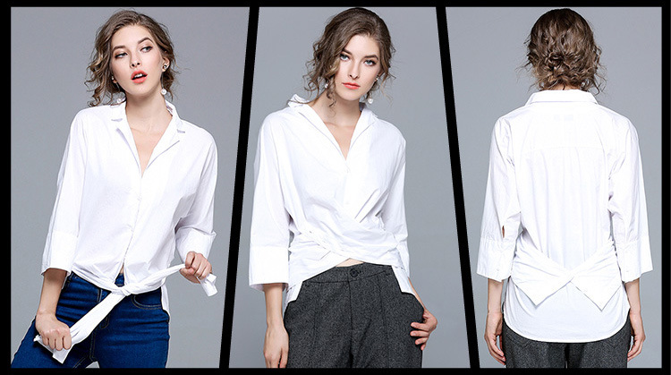 Women's solid color shirt ladies loose V-neck white shirt