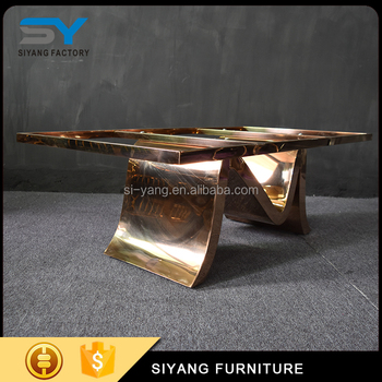 Foshan furniture dubai rose gold coffee table elegant coffee table design for wedding CJ027