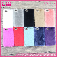 For iPhone 7plus Fur Plush Cover Colorful PC Phone Case For iPhone7 With Diamond
