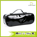 Black Leather Small Makeup Cosmetic Bag Pencil Case Brush or Toiletry Case Supply Holder