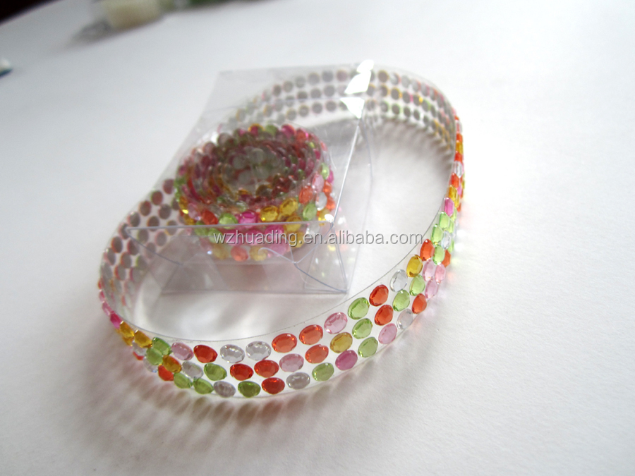 Adhesive mixed color gem rhinestone chain mesh sticker for decor lengh0.95M diameter 5MM
