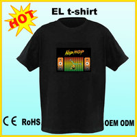 High Quality LED t Shirt Custom Men LED T-shirt Sound Activated flashing EL t shirts Wholesale