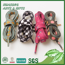 Custom flat type elastic shoe laces polyester sublimation shoelaces