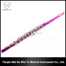 Low Price High Value Pink Flute For Sale C Tone 16 Closed Nickel Key Pink Holes Flutes, Woodwind Musical Instruments