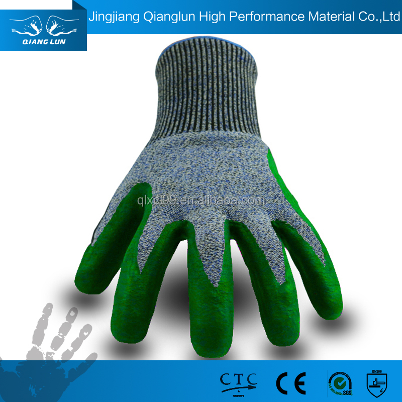 QL HPPE Black nitrile coating foam nitrile coated glove