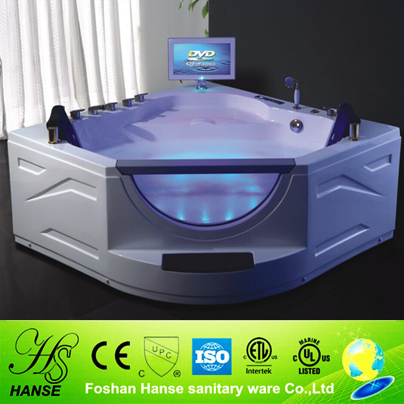 HS-B286A acrylic skirt lovers cheap corner jet whirlpool bathtub with tv
