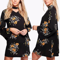 Womens Clothing 2017 Long Sleeve Ladies Floral Print Chiffon Mini Dress