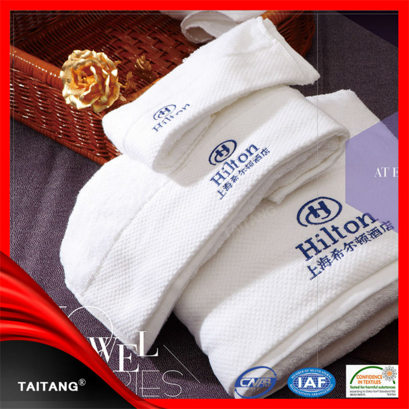 100% cotton pure white emboridered luxury custom made high quality factory price tea towel print towel company logo.