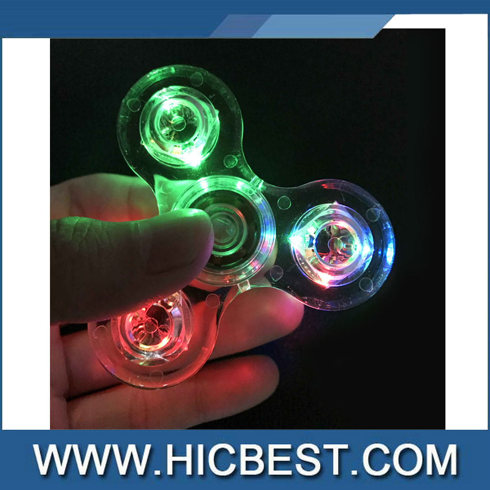 New Cheap Crystal Fidget Spinner LED gyro ABS EDC Hand Spiners Stres Tri Spinner beyblade for Adult Relieve Stress Rotating Toy