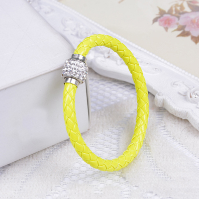 2016 Fashion Vintage crystal leather Bracelet & Bangles For Women magnetic clasp bracelet pu pulseiras pulseras mujer S17