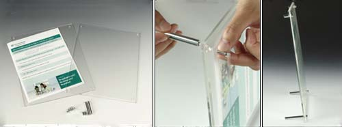 4 x 6 Slant Back Clear Acrylic Sign Holder with Standoff Hardware