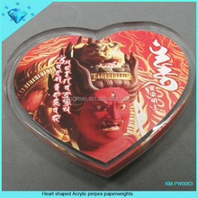 Exquisite heart shape acrylic paperweight plaque