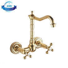 Wall mount kitchen sink faucets gold kitchen tap faucet mixer with dual handle G-0209