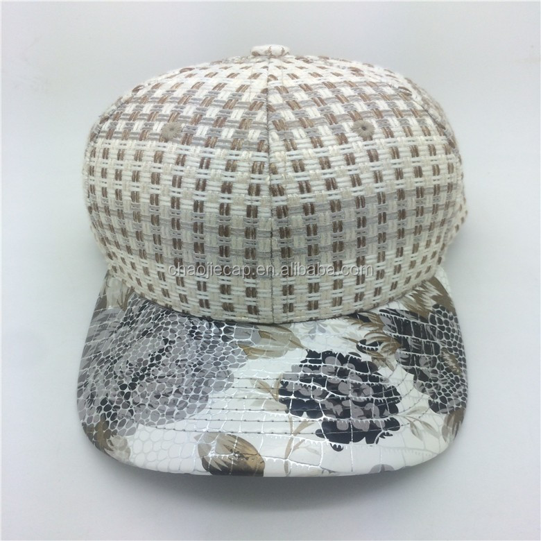 high-end 6panels plain baseball cap with PU visor