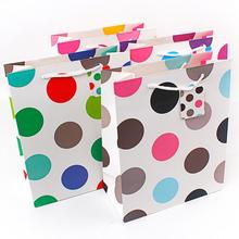 Eco friendly Colored Dots Printed Shopping Gift Paper Retail Bags With Made Of Cardboard
