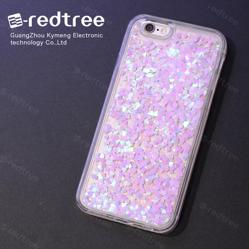 2016 Hot Sale Soft TPU Liquid bling glitter Mobile Phone Case Cover for Iphone 6 6plus 7 case for samsung galaxy note 7
