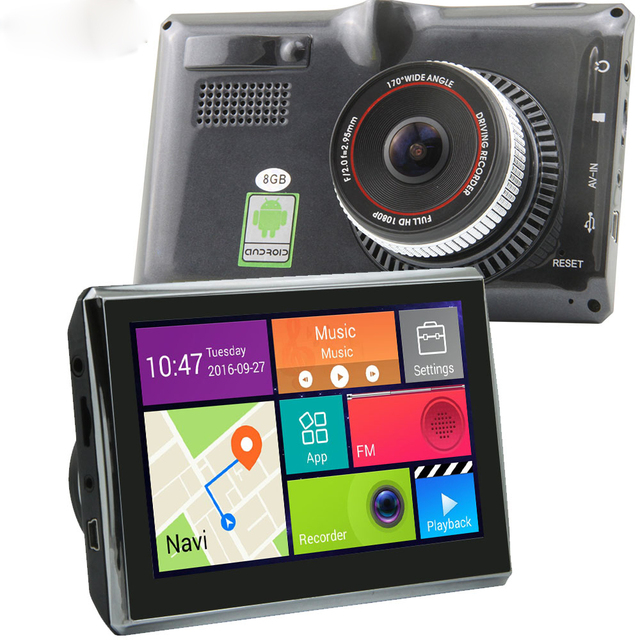 7 inch Wifi Bluetooth Android 4.4 Full HD 1080P Dash Cam Car DVR GPS Navigation Video Recorder with Rear Camera