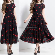 Hot Sales Wholesale Custom Stylish Korean Style Women Fashion Black Abstract A-line Beach Maxi Dresses