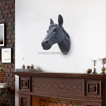 Wall mounted sculpture art black life size resin crafts horse