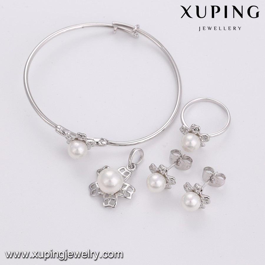 64122 Xuping pearl white gold color kids jewelry set with earring bangle ring pendant