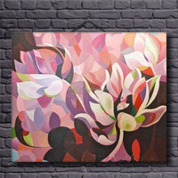 modern abstract cartoon wall acrylic flower painting