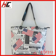 custom 2012 bags with decorative flags american style shoulder bag with stripe
