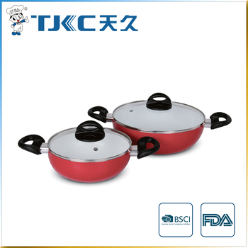 Ceramic Wok Pan with Glass Lid