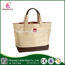 Wholesale New Style Leather Handle Cotton Canvas Tote Bag