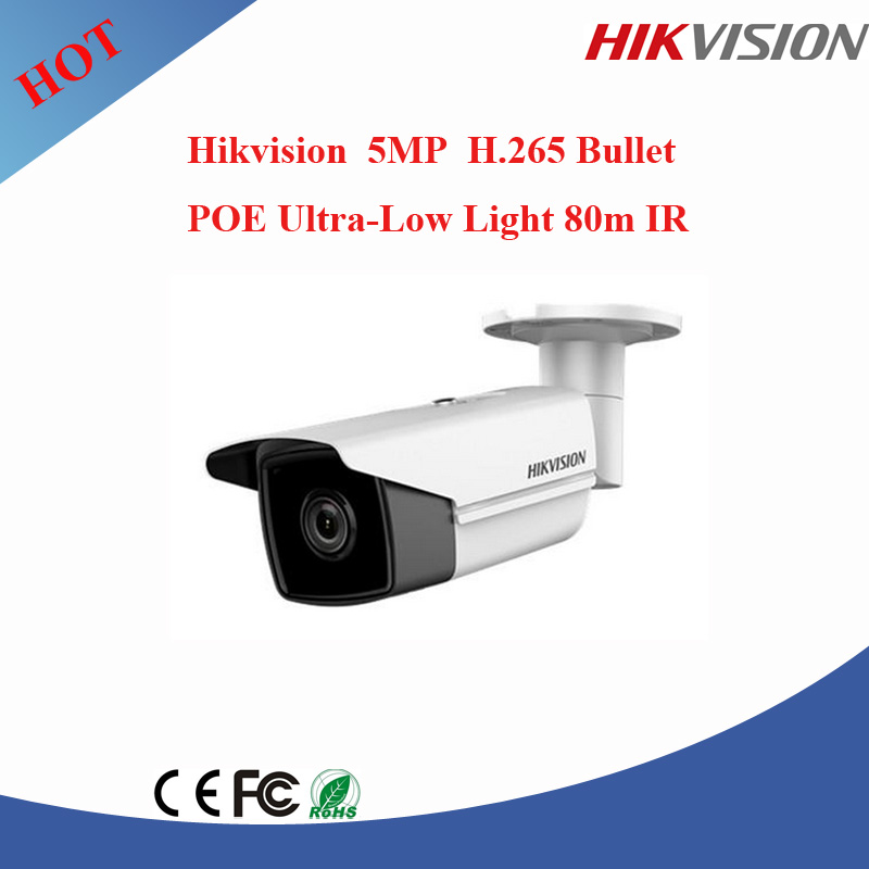 2017 newest Original English version Hikvision samsung cctv camera ip 5mp bullet ip66 poe ip camera DS-2CD2T55FWD-I8 with ir 80M