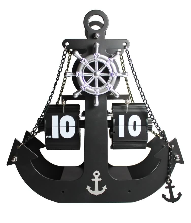 Pirates anchor Retro Flip Clock Unique Modern Black Internal Gear Operated Table Desktop Clocks Creative Home decor