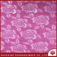 Cheap Printed Pink Flowers Emboss Fleece Fabric For Sofa Professional