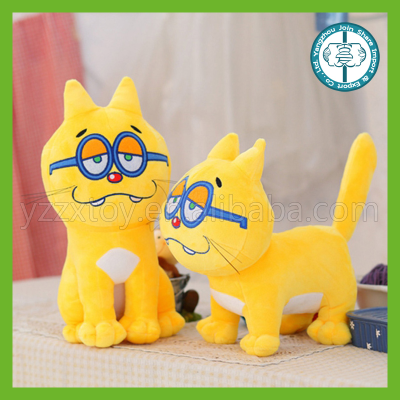 High quality cute cat toy plush yellow cat with blue glasses