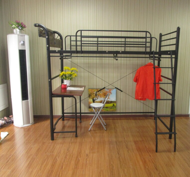 Black Metal Loft Bed With Desk, Hangers, Lights And Sockets