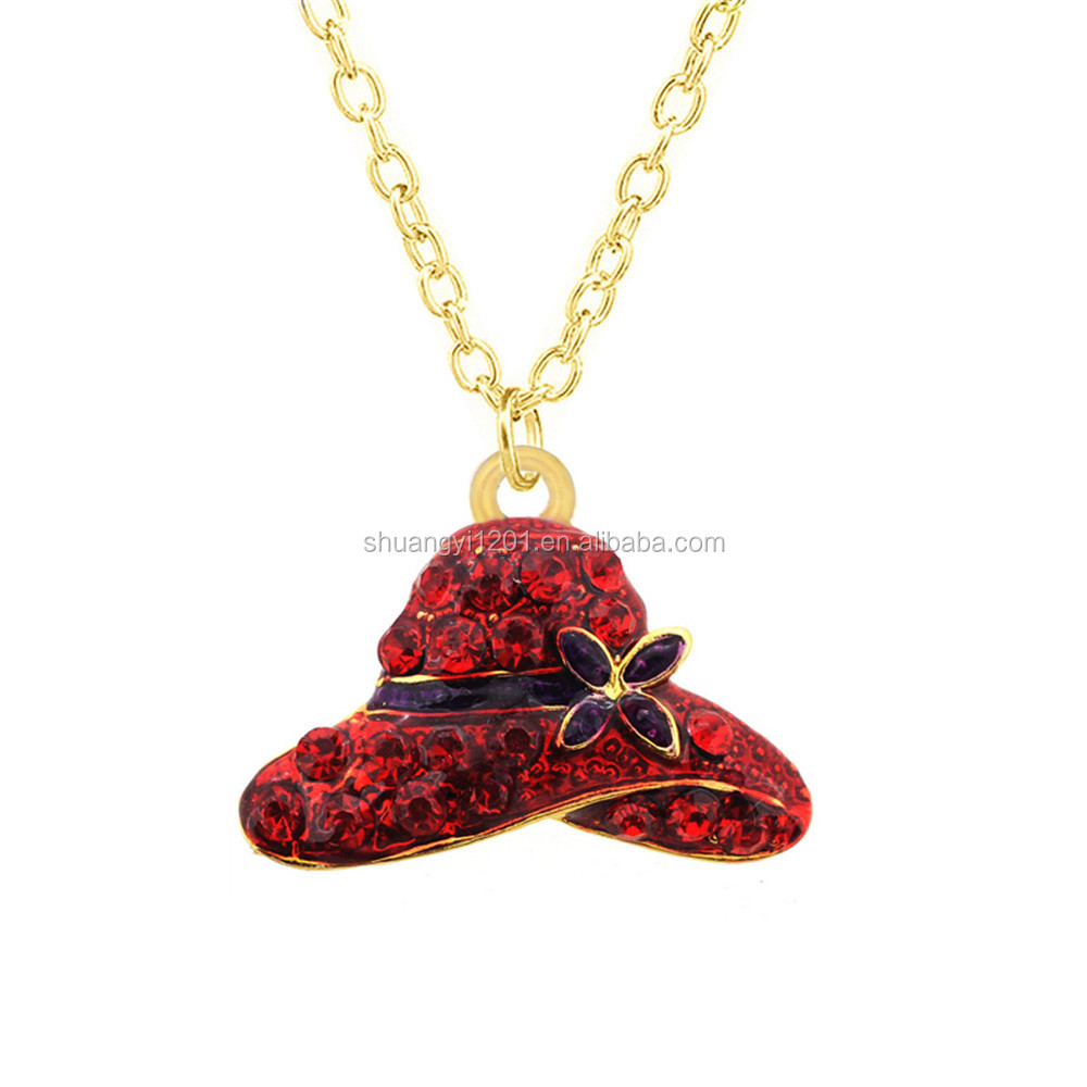 Golden Color Crystal Stone Red Hat Pendants Necklace For Women