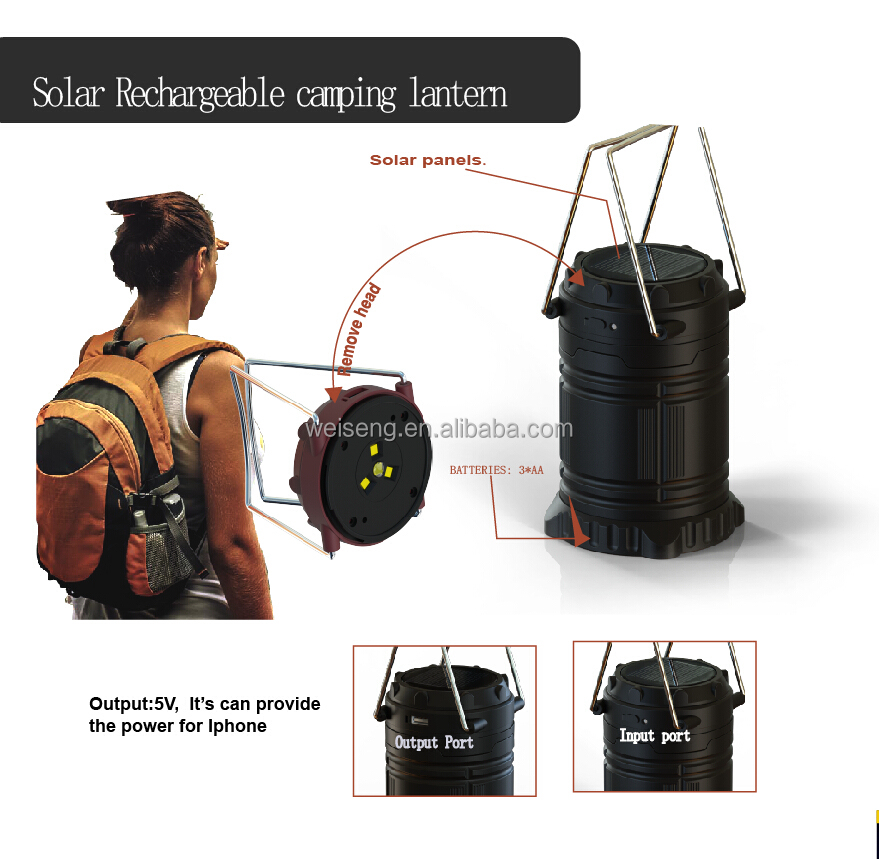 Rechargeable 6 LED solar charging camping lantern