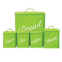 Set of 5 pieces Green Color metal box/storage box/bread box metal bread bin biscuit tea coffee sugar canister set