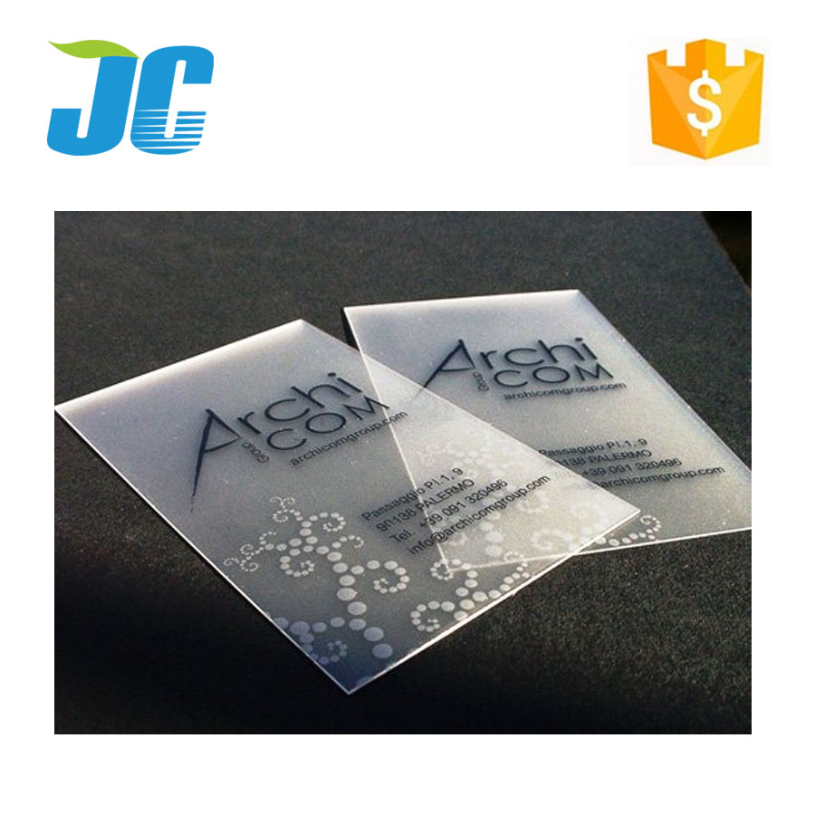 2017 professional customized printing clear pvc frosted business cards