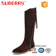 SUBERRY 2017 New Arrival European style over the knee boots suede Genuine Leather low square heel round toe zipper boots women