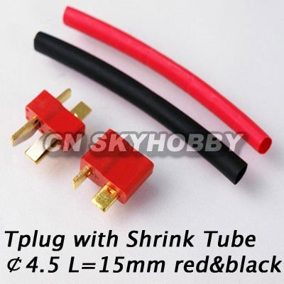 RC Connector T plug with shrink Tube 4.5 L=15mm red&black