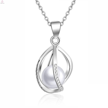 Helix Diy Fashion Cage Pendant Necklace, Wholesale Freshwater 925 Sterling Silver Pearl Cage Pendant