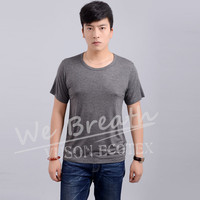 Men Bamboo Round Neck Summer Basic Breathable T-shirt