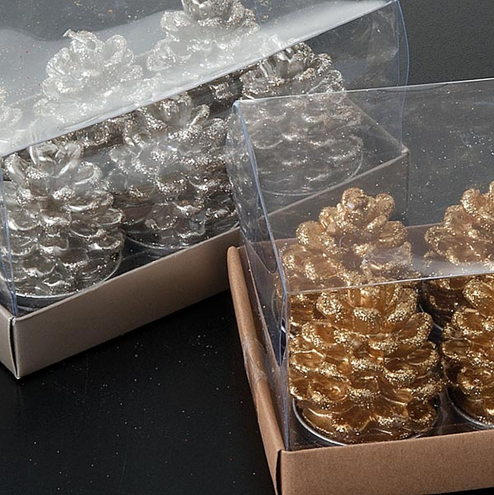 Tea light pineapple pine cone gold silver gift pack alum cup candles