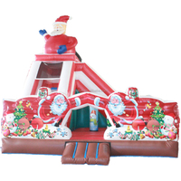 Christmas party inflatable bouncy castle with slide for family use / christmas inflatables model bouncer combo for kids & adults