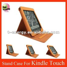 Stand leather case for kindle touch eReader,for kindle touch leather case,free shipping,Orange
