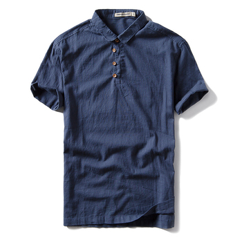 New arrival men's blue linen cotton blank t shirt short sleeve polo shirt