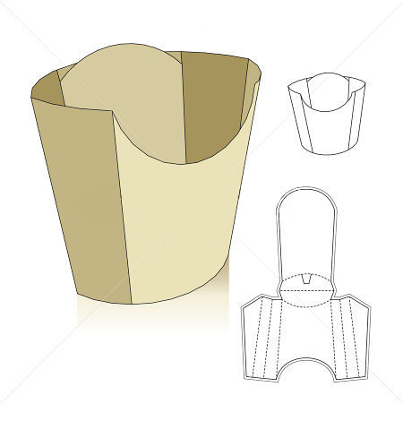 D192 Kraft Snack Container French Fries Packaging Box