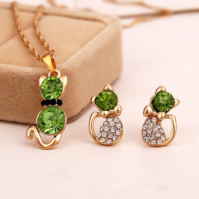 Fashion Girl's Lovely Jewelry Sets White /18k Gold Plated Plated Kitten Shape Austrian Crystal  Necklace Earrings
