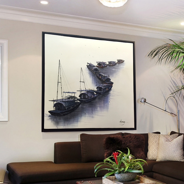 3D 100% hand painted fleet (of ships) picture oil painting on canvas wall art for living room decro