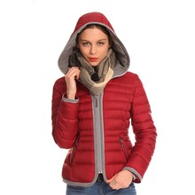 Fashion Design Europe Style Hooded Anorak Red Winter Jacket